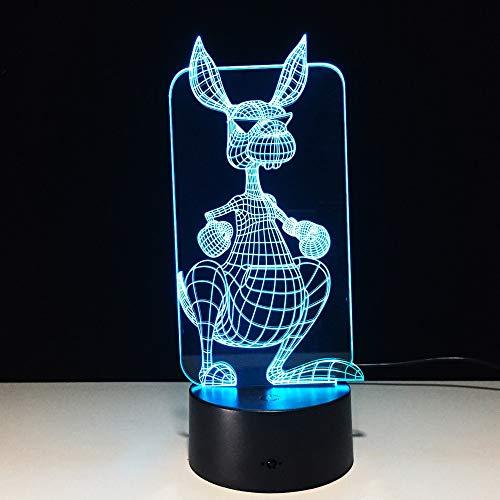 Kangaroo Creative Night Light 3D LED Tischlampe Kinder Geburtstagsgeschenk Nachtzimmer Dekoration