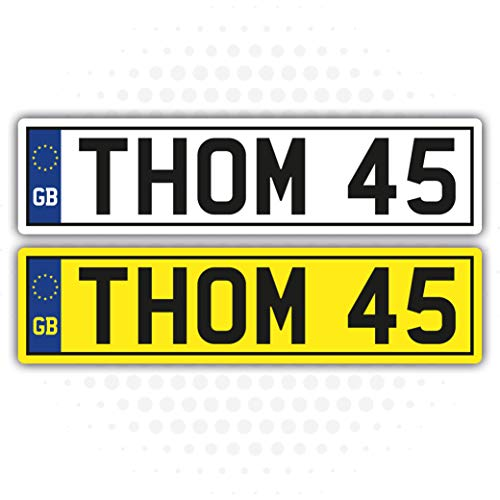 Landing Design's 2 x KIDS PERSONALISED NUMBER PLATES STICKERS (140mm x 35mm) CHILDREN'S TOY RIDE ON CAR SELF ADHESIVE VINYL STICKER