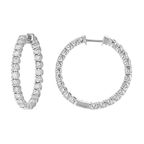 5 cttw Certified SI2-I1 Clarity Diamond Hoop Earrings 14K White Gold H-I Color