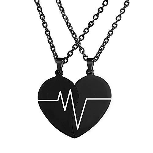 MJartoria - Collar con colgante de corazón dividido para 2 amigas, San Valentín y San Valentín