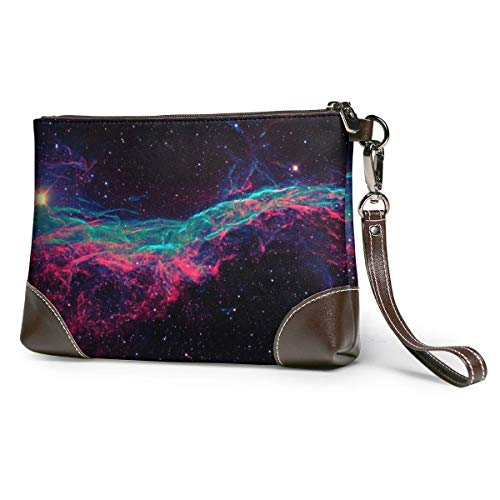 Carteras Women's Leather Wristlet Clutch Wallet Space Canvas Electro Stars with Love...