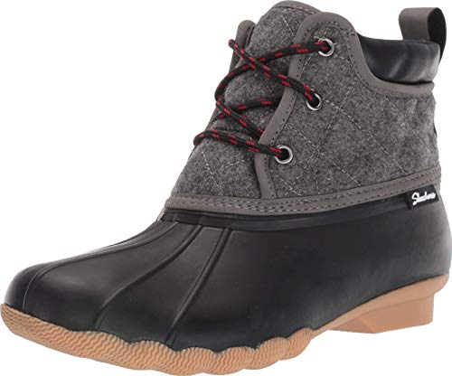 Skechers Women's Pond-Lil Puddles-Mid Quilted Lace Up Duck Boot with Waterproof Outsole Rain, Black/Charcoal, 9 M US