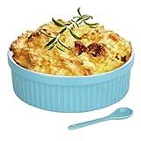 1 Quart Large Souffle Dish ' 32 Oz Large Ceramic Round Ramekins for Baking Souffl Dishes, Bakeware for Pasta, Pot Pie, Deserts, Gratin Dishes, Puff Pastry, Burnt Custard, Mac and Cheese, (AQUA)