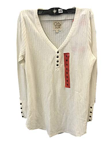 CHASER Ladies' Long Sleeve Waffle Thermal Tunic Sweater Top (Large, Foam)
