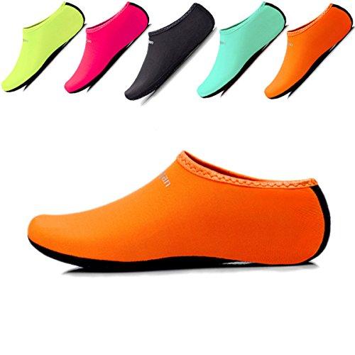 JIASUQI Little Kids Lightweight Sports Water Shoes Socks Pool Sand Swim Aerobics Orange S US 2-2.5 M Little Kid