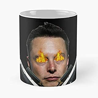 Elon Musk With Flamethrowers Classic Mug Coffee Tea - 11 Oz Mugs Unique Ceramic Novelty Cup, The Best Gift For Holidays