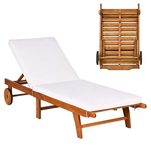 COSTWAY Sonnenliege Holz, Gartenliege verstellbare Rückenlehne mit Rollen und Kissen, Strandliege für Garten, Rasen und Terrasse