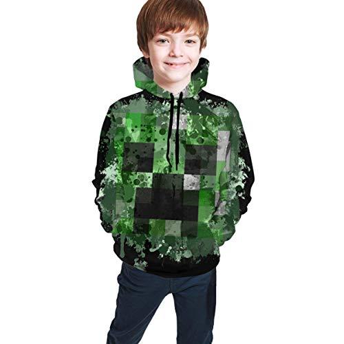 Gdfevg Mi-NEC-Raft Jungen Kapuzenpullover Teen Boys Girls Hooded Sweater 3D-Druck Casual Hoodies Pocket Hooded Sweatshirt Youth Sweatshirts M(10-12)
