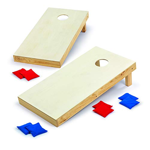 Backyard Champs Corn Hole Outdoor Game: 2 Regulation Wood Cornhole Boards and 8 Bean Bags