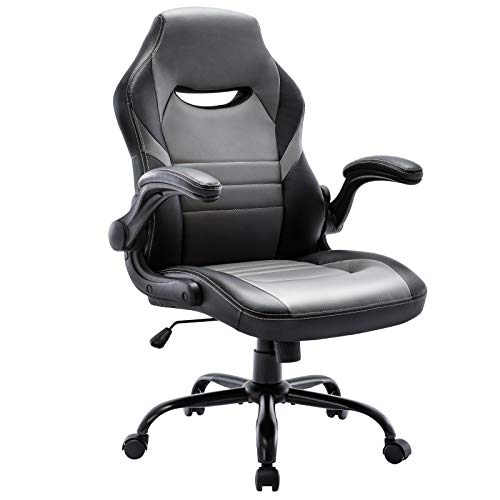 STARSPACE Flip-Up Arms Office Gaming Chair, Ergonomic Swivel Computer Racing Game Chair Adjustable Desk Task Chair (Grey)