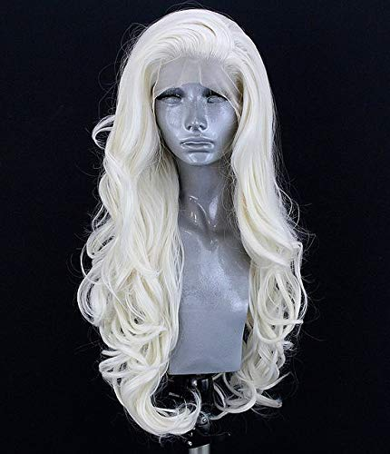 EALGA White Blonde Cosplay Wigs for Women #60 Platinum Blonde Synthetic Hair Lace Front Wig Glueless Silver Blonde Wavy Wigs 24 inch EALGA-008