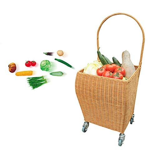 LZC Einkaufswagen, Kleiner Bambusrattan-Supermarkt-Einkaufswagen, große Kapazität und langlebiges Gut, verwendbar für Familien-Einkaufswagen, ältere Kinder, Erwachsene können verwenden