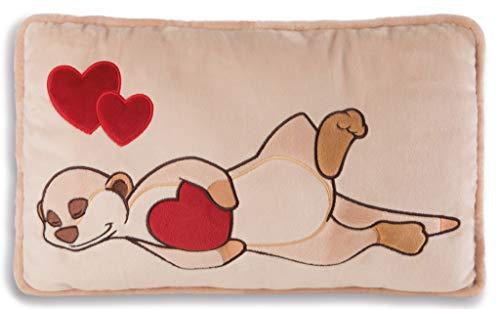 NICI 42784 Kissen Erdmännchen mit Herz rechteckig, 43 x 25 cm, beige