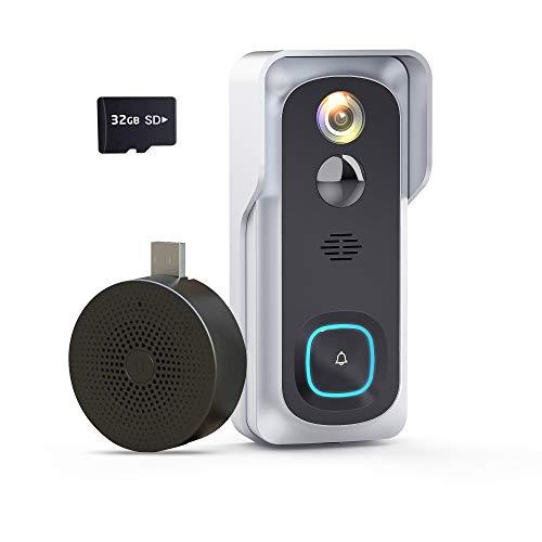 Wireless Video Doorbell Camera, Geekee 1080P Security WiFi Doorbell Camera with Indoor Chime, Motion Detect Sensor, IR Night Vision, IP66 Waterproof, 2-Way Audio, 32GB Included (Sliver)