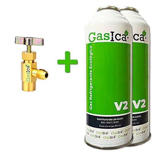 gasica 2 Botellas de Gas ecológico Refrigerante V2 + Llave de Servicio sustituto de (R22,R407C,RT410A) 255GR