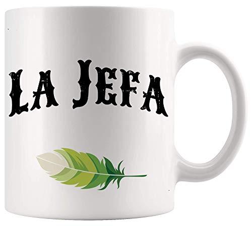 Boss Mug Manager Leader Cup La Jefa Mama Boss Woman Póster de oficina en español Tazas divertidas Tazas