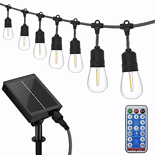 Solar Powered 56ft Waterproof LED Outdoor String Lights with Dimmable Remote Control, 15 x Shatterproof LED Light Bulbs for Backyard Garden Patio Pergola Gazebo Bistro Bedroom Christmas Wedding Party