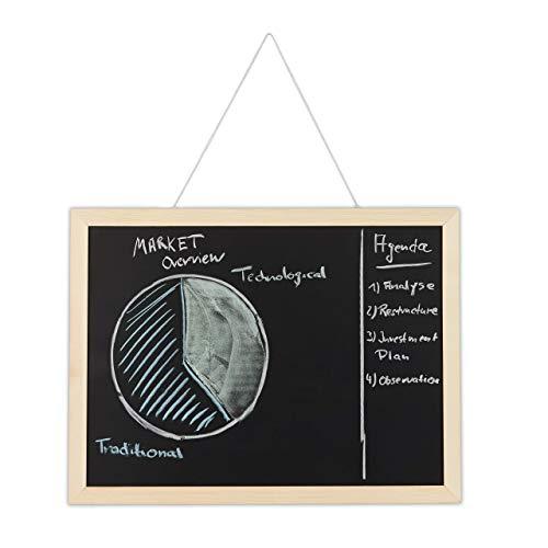 Relaxdays Pizarra negra con marco de madera, Borrable, Organizadora, Para la pared, 30 x 40 cm