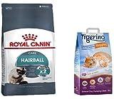 Hairball Care Royal Canin Paquete económico de 2 x 10 kg Cat Food Combats con Forma Especial de Kibble + Tigerino Nuggies Cat Arena de Polvo de bebé Aroma