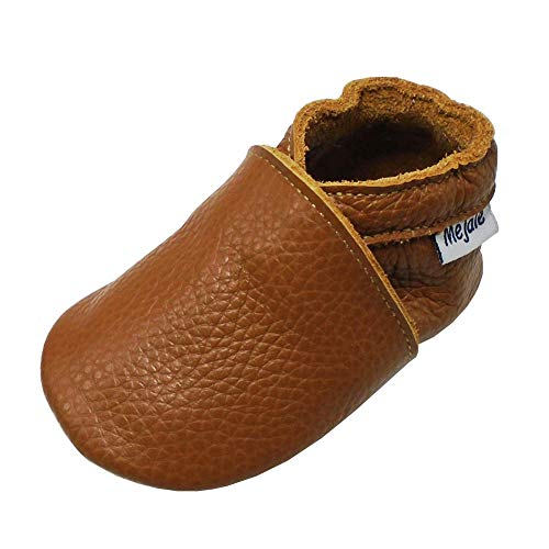 Mejale Premium Weiche Leder Lauflernschuhe Krabbelschuhe Babyschuhe Mokassin (6-12 Monate, Braun)