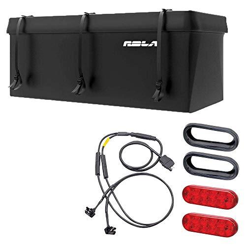 Rola Cargo Carrier Basket Rack LED Light Kit + Waterproof Trailer Hitch Bag