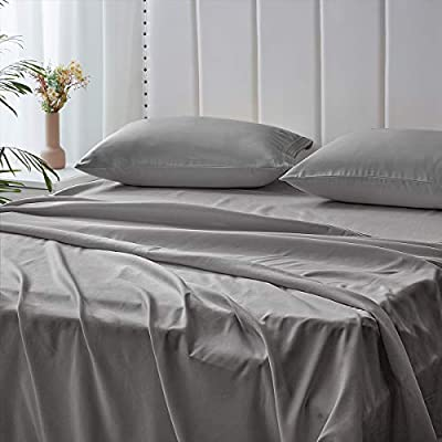 Bed Sheets 4PC Queen Sheet Set with 2 Pillow Shams Egyptian Quality 16Inches Fitted Pocket Brushed Microfiber Grey Queen Sheets Soft Breathable Easy Washed