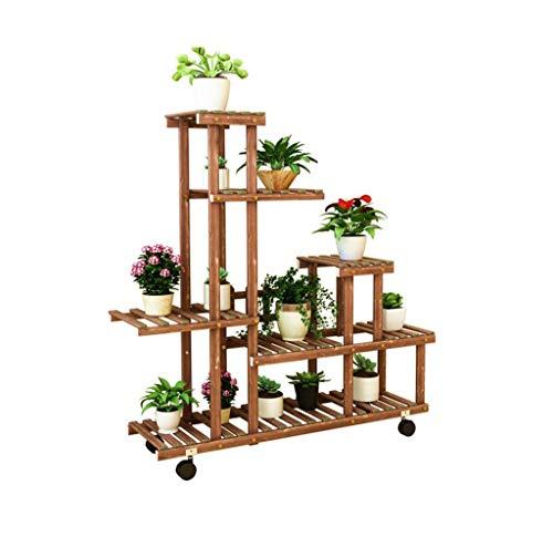 WYJW Bloem frame/outdoor plantenstandaard / 6 verdiepingen massief hout bloemstandaard voor de tuin of woonkamer slaapkamer met balkon en vloerstandaard met wiel en stevig hek - L105 \\ u