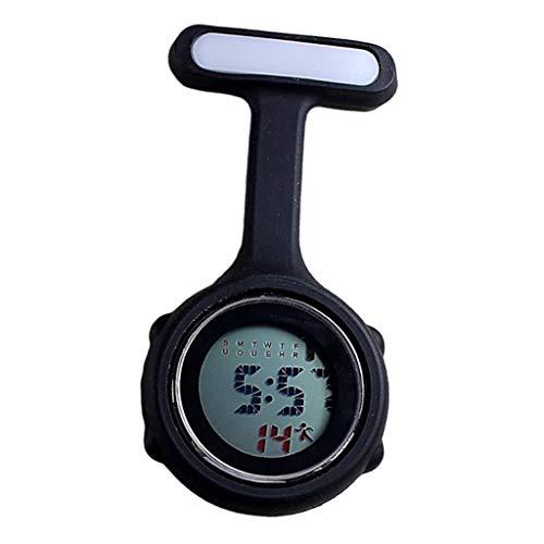 F Fityle Enfermera Médica Paramédica Broche con Clip Reloj De Bolsillo Eléctrico Silicona - Negro