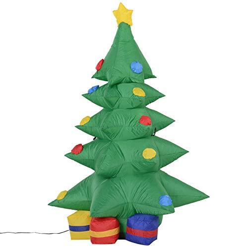 Homcom Gonfiabile Di Albero Di Natale Con Pacchi Regalo, Autogonfiabile Elettrico, Con Luce LED Bianca, Alto 1,20 M, Per Un Magico Natale