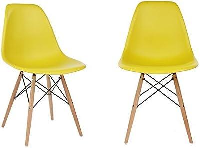 93d17d312aa Ariel DSW Dark Yellow Plastic Shell Chair with Wood Eiffel Legs Set of 2