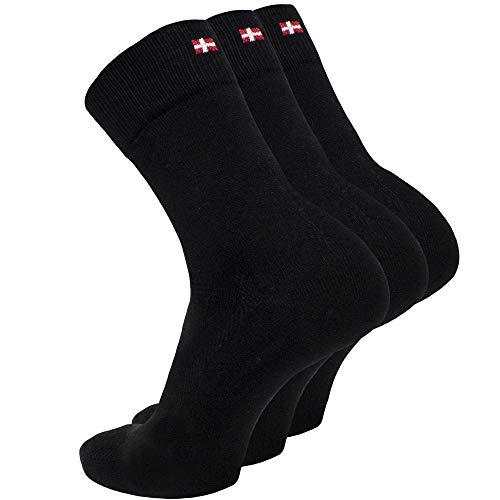 DANISH ENDURANCE Bambus Socken 3 Paare (Schwarz, EU 35-38)