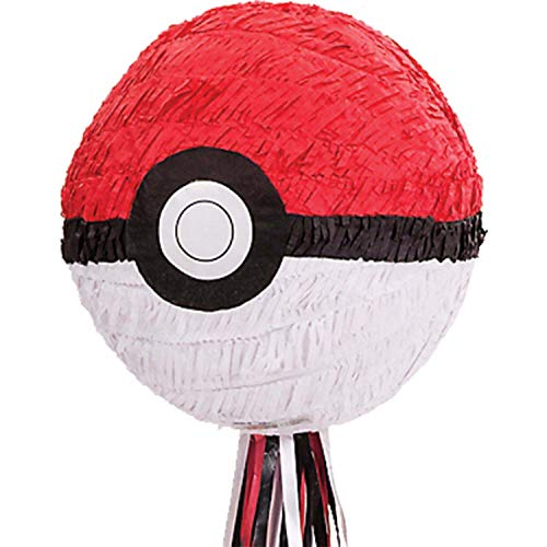 Amscan 9903153 - Pull-Pinata Pokemon Ball Papier / Plastik 27,3 x 27,9 x 27,3 cm, Dekoration