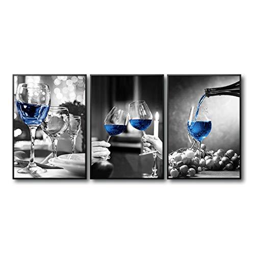 Impresión de lienzo de copa de vino blanco y negro imagen de pared azul champán para la decoración del hogar de la sala de estar