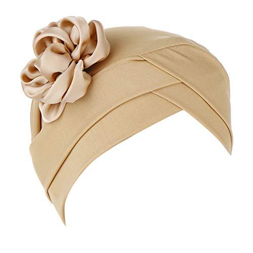 Dorical Chemotherapie Krebs Kopf Schal Hut Kappe Damen Floral Beanie Schal Muslim Kopftuch Wrap Cap Headwear Bandana für Chemo/Turban Kopfbedeckung Stretch Einfarbig Muslime Kopftuch(Khaki)