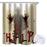 Lansian Horror Scary Shower Curtain Decor Set Help for Halloween Decoration Bloody Hands Bloodstain Polyester Waterproof Bathroom Decorative with 12 Curtain Rings, 71x71 Inches