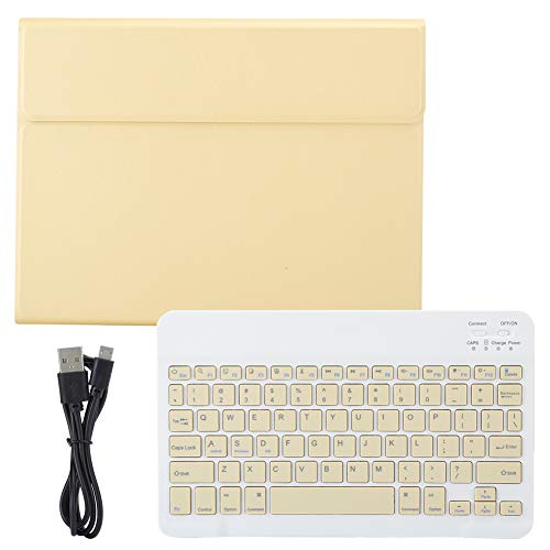 Natruss with PU Leather Cover Keyboard, Comfortable Touch Super Thin Wireless Keyboard, Laptop for Tablet Computer(yellow, IPAD 9.7 with pen tray)