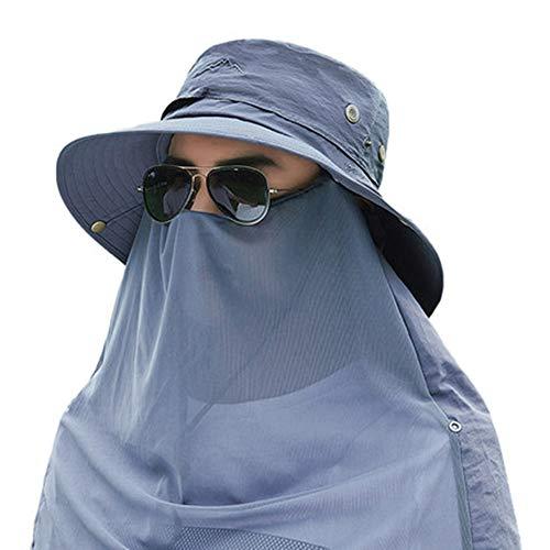 Outdoor Climbing Sunshade Sonnenschutzhut UV-Schutz Angeln Fisherman Hat Abnehmbarer Hals und Hals mit breiter Krempe