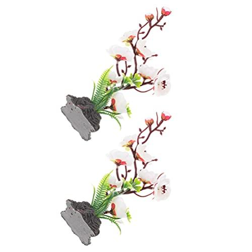 BESTonZON 2 piezas de plástico de ciruelo artificial flor de cerezo flores de sushi mesa centros de mesa de peces, plantas de tanque de peces decoración para cocina y acuario