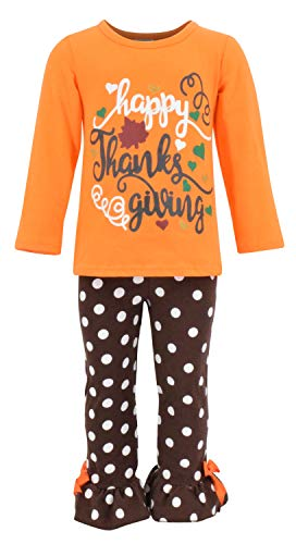 Unique Baby Girls 2 Piece Happy Thanksgiving Orange and Brown Fall Outfit (5)