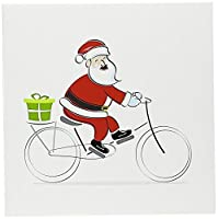 Anne Marie Baughクリスマス–Aキュートサンタ句Riding a Bicycle Illustration–グリーティングカード Set of 6 Greeting Cards