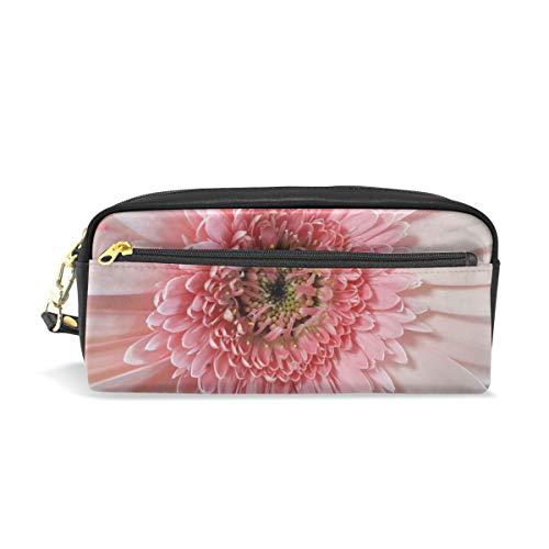 Federmäppchen Tasche Pflanze Afrikanische Gänseblümchen rosa Blume Stifteetui Etui Etui mit Fächern für Schule Student Frauen Kosmetik Taschen Leder