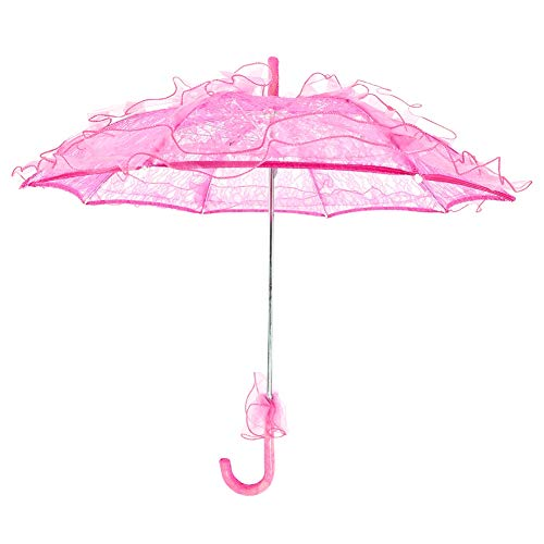 Fdit Bridal Lace Cotton Umbrella Parasol Costume for Wedding Parties Dancing Photography Prop(Rosy)