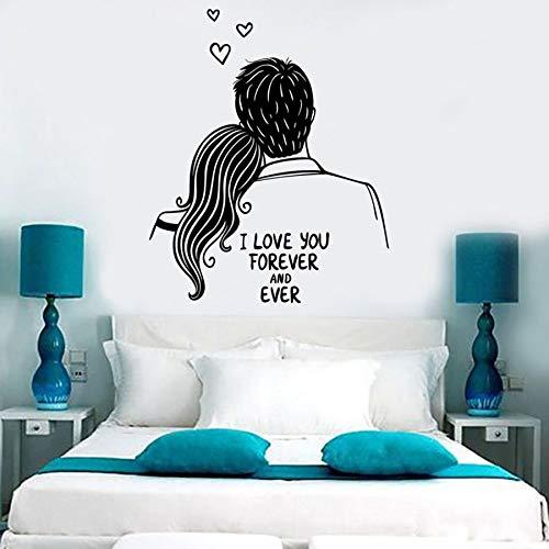 Tianpengyuanshuai Männer und Frauen Wandtattoos Ich werde Sie Immer lieben romantische Paar Schlafzimmer Dekoration nach den Wandgemälden 63X76cm