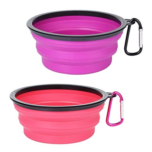 PetBonus 2-Pack Silicone Collapsible Dog Bowl, BPA Free Dishwasher Safe, Portable Foldable Travel Bowl, Food Water Feeding Dish for Dogs Cats with 2 Carabiners, Small, Purple + Pink