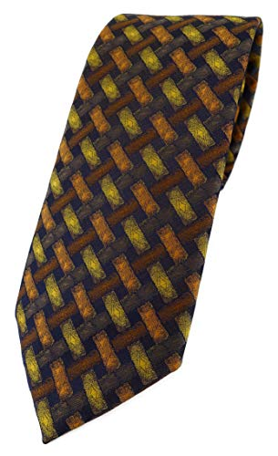 TigerTie Designer Krawatte in orange gelb braun schwarz - Motiv Flechtmuster