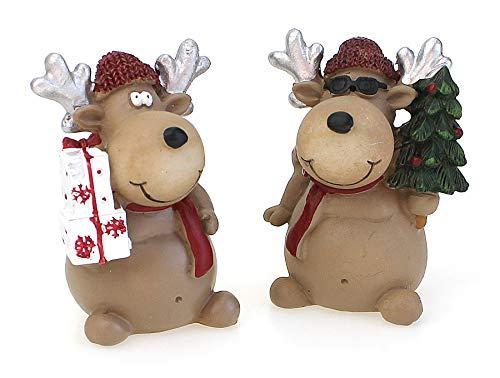 TEMPELWELT 2X Deko Figur Rentier Elch stehend Im Set Je 7 cm, Polystein Braun Rot Dekofigur Elchfigur Winter Weihnachten Kranzdeko Winterdeko