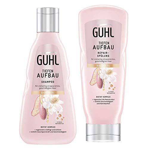 Guhl Tiefenaufbau Set für strapaziertes Haar - Shampoo & Spülung - Regeneriert, kräftigt und schützt das Haar - Mit Baobab-Öl