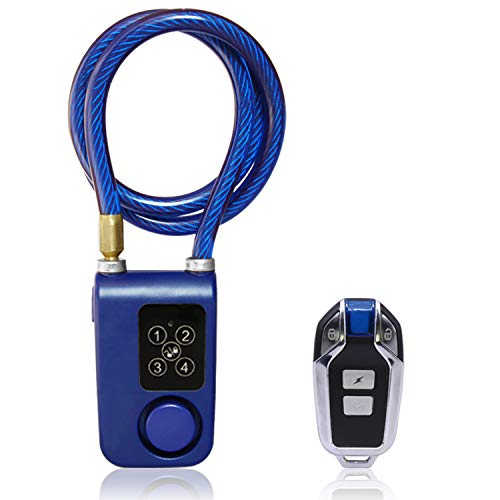 Solebe Wireless Anti-Theft Vibration Alarm Lock 115dB Bicycle Bike Motorcycle Security Lock with Steel Cable Keyless Password or Remote Control for Lock/Unlock IP55 for Indoor & Outdoor Use (Blue)