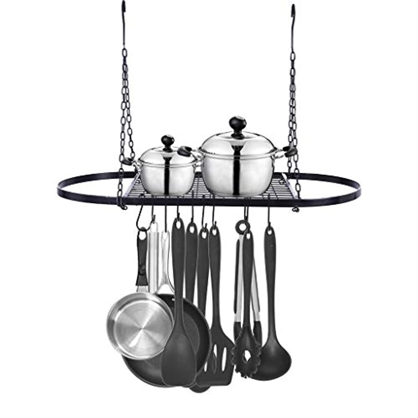 Swyss Pot and Pan Rack for Ceiling with 10 Hooks — Decorative Oval Mounted Storage Rack — Multi-Purpose Organizer for Home, Restaurant, Kitchen Cookware, Utensils