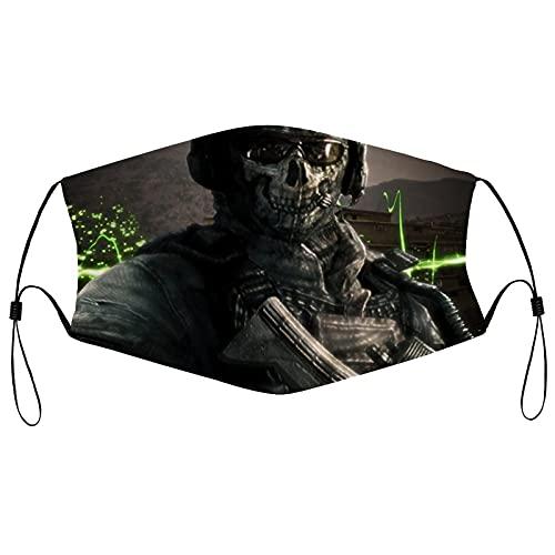 Best-design Ghost Call of Duty Máscara antipolvo lavable a prueba de polvo de algodón, máscara facial de tela reutilizable